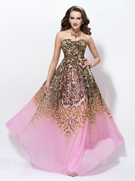 Attractive A-Line Floor-length Sweetheart Leopard Print Sleeveless Prom Dress Designed
