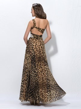 Unique A-Line One-Shoulder Leopard Print Crystal Evening Dress Designed