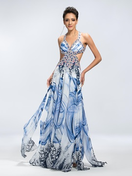 A-Line Beading Floral Print Criss-Cross Straps Floor-Length Prom Dress