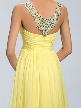 Eye-catching Beading Straps Ruched Empire Waistline Long Prom Dress Designed