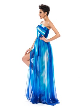 Great A-Line Strapless Split-Front Pleats Long Prom Dress