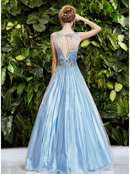 Luxurious Scoop Neckline Beadings Sleeveless A-Line Long Prom Dress