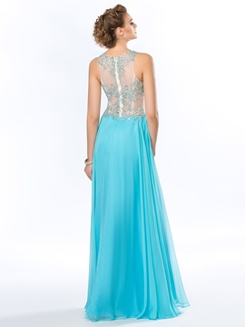 Jewel Neckline Beading A-Line Floor Length Prom Dress