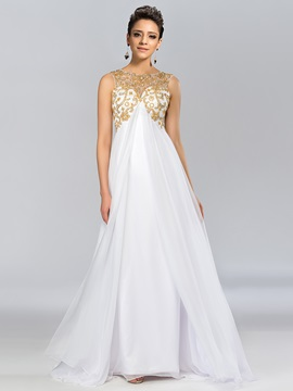 Dazzling A-Line Bateau Empire Long Evening Dress