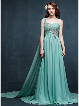 A-Line One-Shoulder Crystal Watteau Train Long Prom Dress