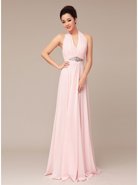 Halter Beading A-Line Long Prom Dress
