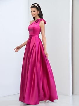 Simple One Shoulder Bowknot A-Line Long Prom Dress