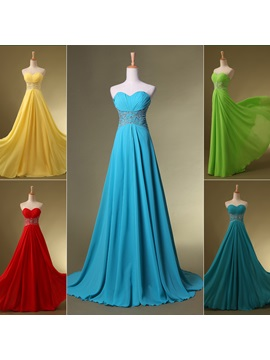Tidebuy Stunning Sweetheart Sequins Beading Sweep Train Long Prom Dress