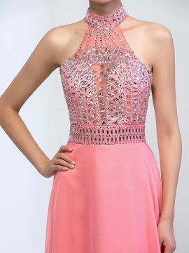 Fashionable High Neck Sequins Beaded Hollow Long Prom Dress