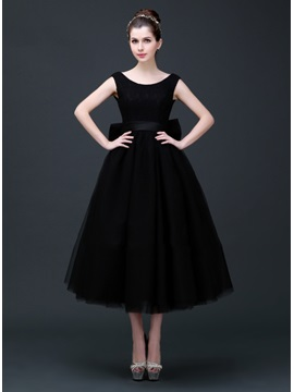 Straps Bowknot A-Line Tea-Length Prom Dress