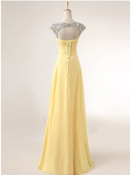 Pretty Straps Sequins Beading A-Line Lace-up Long Prom Dress