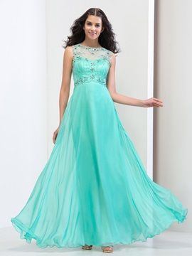 Bateau Beaded Sequins Long Prom Dress