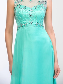 Fashion Bateau Neck Beaded Sequins Backless Long Prom Dress