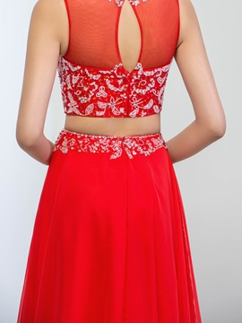 Super Jewel Neck Beaded Sequins Two Pieces Long Red Prom Dress