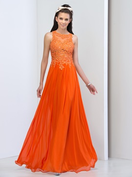 Modern Scoop Neck Appliques Sequins Backless Long Prom Dress