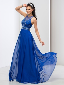 Stunning A-Line Jewel Neck Beaded Hollow Long Prom Dress