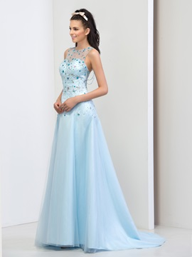 Luxurious Scoop Neck Beaded Crystal A-Line Long Prom Dress