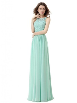 Simple Scoop Neck Lace Backless A-Line Long Prom Dress