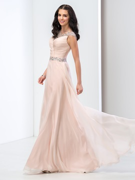 Graceful Jewel Neck Cap Sleeves Sequined Beaded Long Prom Dress