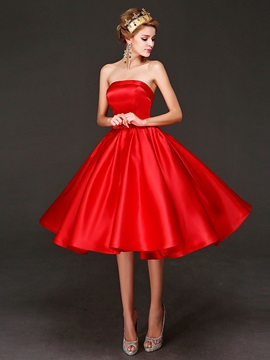 Casual Strapless A-Line Bowknot Tea-Length Lace-up Prom Dress
