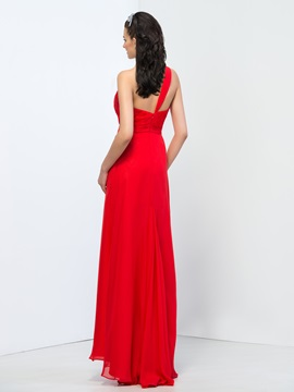 One-Shoulder Column Floor-Length Split-Front Prom Dress