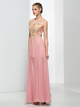Chic Round Neck Appliques Sequins A-Line Prom Dress
