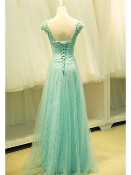 A-Line Straps V-Neck Lace Crystal Long Prom Dress
