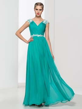 V-Neck Appliques Beading Pleats Long Prom Dress