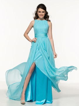 Cheap Bateau Neckline Pleats Split-Front Long Prom Dress
