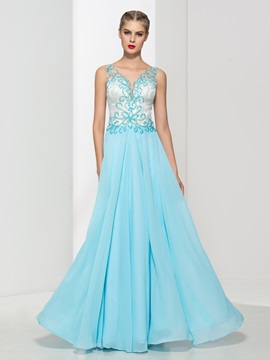 Dramatic Straps Beading Lace Long Prom Dress