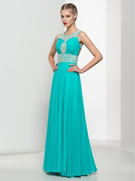 Modern Backless Straps Beading A-Line Long Prom Dress