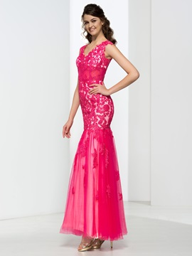 Mermaid V-Neck Cap Sleeves Beading Lace Prom Dress