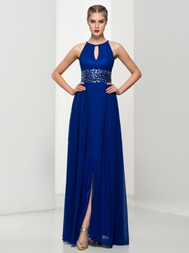 A-Line Straps Sequins Split-Front Long Evening Dress