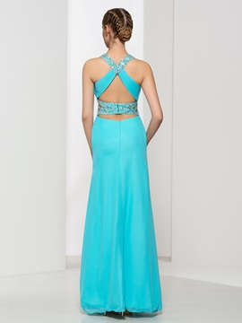 Criss-Cross Straps Beading High Waist Long Prom Dress