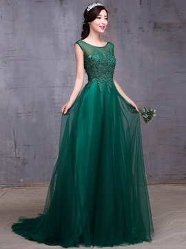 Elegant Sheer Neck A-Line Appliques Long Prom Dress