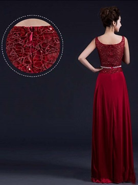 Pretty Scoop Neck Beading Lace Prom Dress