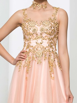 High Neck Appliques Beading Button Prom Dress