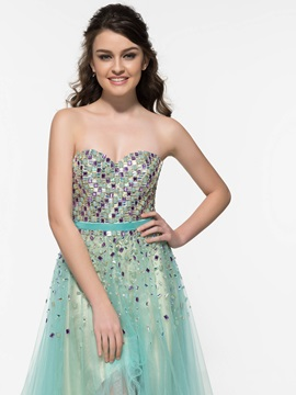 Fashionable Sweetheart Beading Tulle High Low Prom Dress