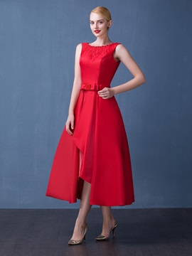 Fancy Straps A-Line Beading Bowknot Red Tea-Length Prom Dress