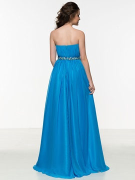 Chic Sweetheart A-Line Pleats Beading Prom Dress