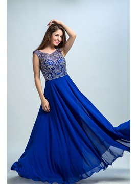 Scoop Neck Beading A-Line Prom Dress