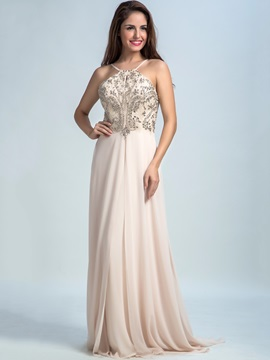 Spaghetti Straps Beading A-Line Long Prom Dress