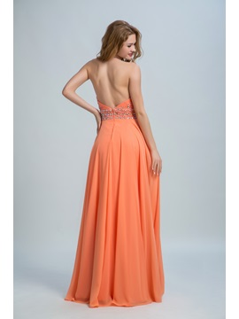 Halter Beading Crystal Backless Prom Dress