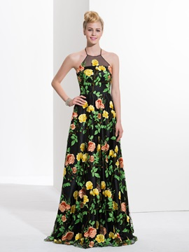 Amazing Halter A-Line Print Prom Dress