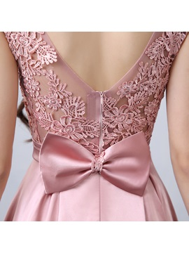 Fancy Straps Bowknot Lace Long Prom Dress