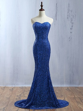 Shining Sweetheart Sequins Lace-Up Mermaid Evening Dress