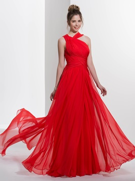 Casual Straps Pleats Watteau Train Red Prom Dress