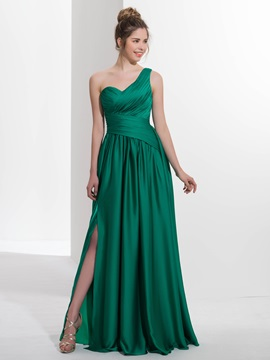 Casual One Shoulder Pleats Appliques Button Prom Dress