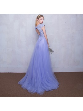 Glamorous Cap Sleeves Beading Lace Prom Dress
