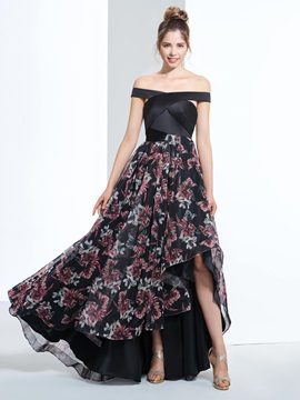 Off the Shoulder High Low Print Prom Dress
